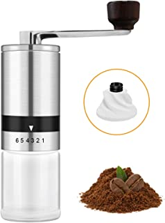 Manual Coffee Grinder - Portable Hand Coffee Bean grinder with 6 Adjustable Settings for Office, Home, Traveling, Camping,...