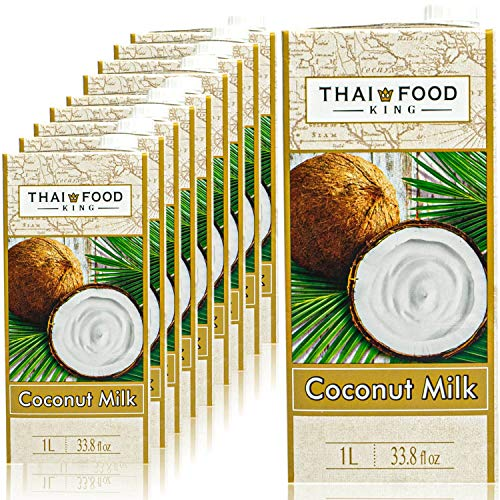 Thai Food King - 10er Pack Premium Kokosmilch 1 Liter - Original Kokosnussmilch cremig ideal zum Kochen, Backen und für Desserts - Coconut Milk mit hohem Kokos Anteil