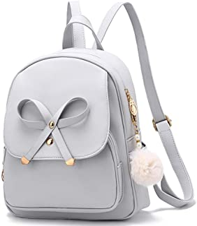 حقيبة ظهر أنيقة للفتيات بتصميم فيونكة من الجلد حقيبة ظهر صغيرة للنساء حقيبة مدرسية حقائب سفر عادية