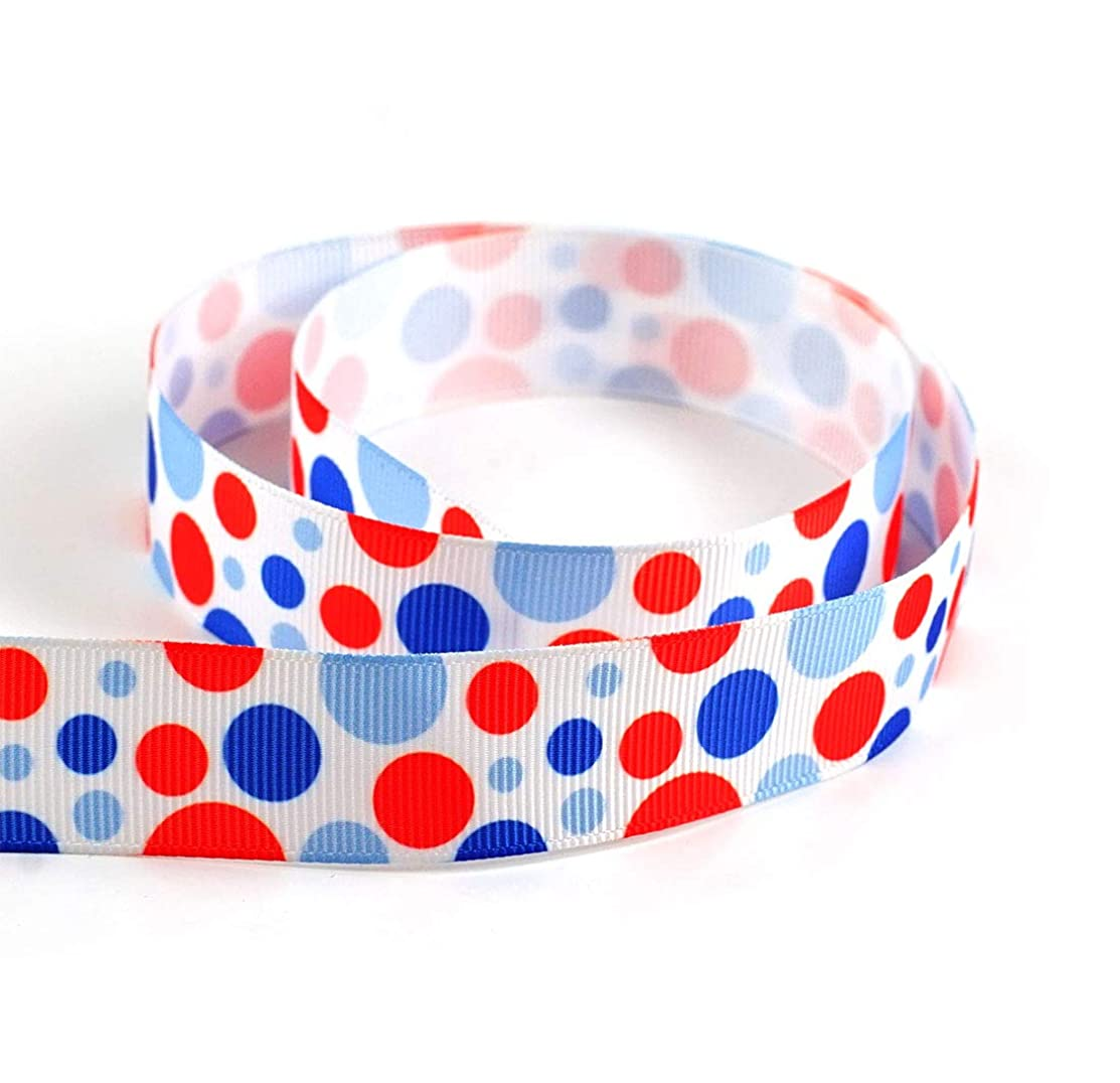 Polyester Grosgrain Ribbon - Red Blue Dot Patriotic USA 4th of July American Flag Independence Day Ribbon 10 Yards 7/8