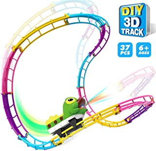 Electric Race Car Track Set,Flexible Racetrack Toy Car Playset,Build a Road Tumble Track with Light Up Cartoon Truck for Ages 3 and Up Boys Girls Best Gifts