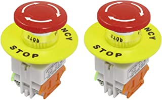 WAF Red Mushroom Cap 1NO 1NC DPST Emergency Stop Push Button Switch AC 660V 10A
