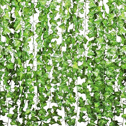 Plantas Hiedra Artificial 84ft, 12 Pcs Hiedra Hojas de Vid Artificial...