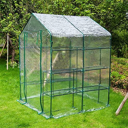 U/N Mini serre serre de jardin pour plantes, 143 x 143 x 195 cm, vert transparent, plastique de couverture en PVC