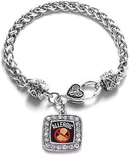 Silver Square Charm Bracelet with Cubic Zirconia Jewelry
