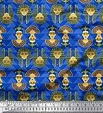 Soimoi Blau Baumwoll-Popeline Stoff ägyptische Frauen Kopf