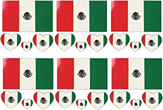 Daqin 1 Piece Set (6 Pieces) Mexico Waterproof Flag Tattoo Sticker Temporary Body Sticker Long Lasting Flag Tattoo (Color : Mexican flag)
