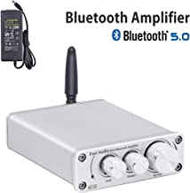 Fosi Audio BT10A - Bluetooth 5.0 Stereo Audio Amplifier Receiver, 2 Channel Class D Mini Hi-Fi Integrated TPA3116 Amp, for Home Speakers 50W x 2, with 19V 4.74A Power Supply - Silver