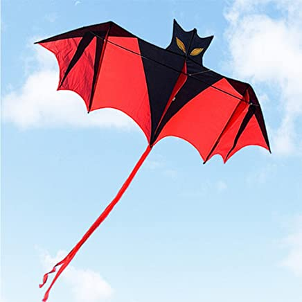 Yeefant Vampire Bat Red Cloth Lifelike Kite - Easy to Fly Outdoor Fun Sports Education Toy with 98ft Flying Lines - Unforgettable Memory - Great Gift for Adult Kids Children, 70.87in*31.5in