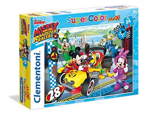 Clementoni- Mickey Roadster Racers Topolino Supercolor Puzzle, Multicolore, 24 Pezzi, 24481
