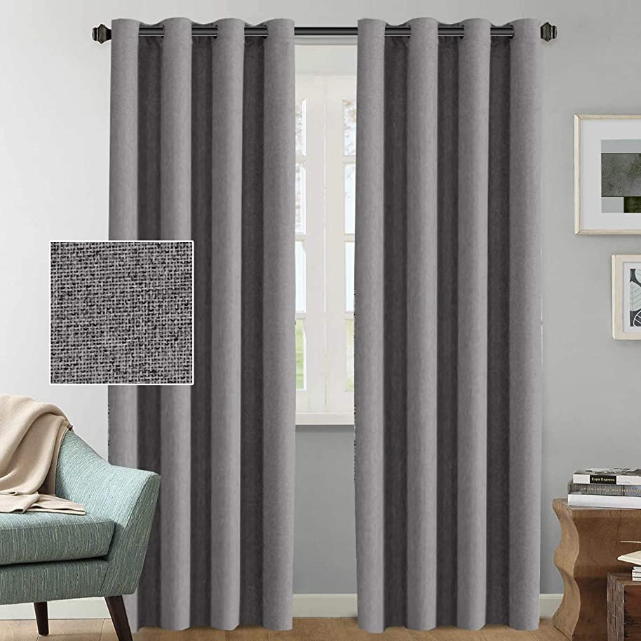 Linen Curtains Blackout Room Darkening Thermal Rich Linen Curtain Panels 96 Inches Long for Living Room, Heavy Weight Textured Luxury Linen Indoor Draperies, 52 by 96 Inch - Grey (2 Panels)