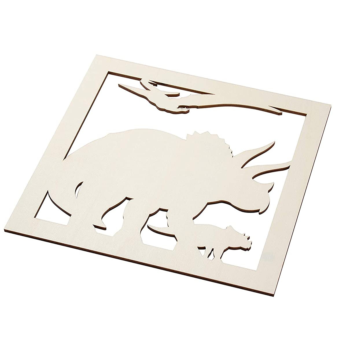 Genie Crafts 2-Piece Unfinished Wooden Triceratops Dinosaur Cutout, Wall Art Decor for Painting, DIY Wood Crafts, and Signs, 11.6 x 0.2 Inches