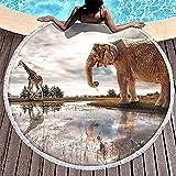 África Elefante Jirafa Animal Blanco Redondo Toalla de Playa Manta llamativa Cubierta de Playa decoración de Pared Tapiz con borlas Alfombra de Yoga para Mujeres y niñas