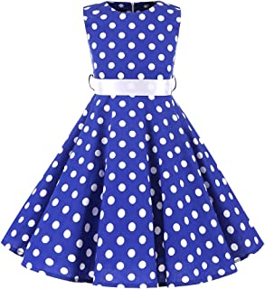 Little/Big Girls Cap Sleeves 50's Vintage Polka Dot Flowers Girl Brithday Party Swing Dress with Belt