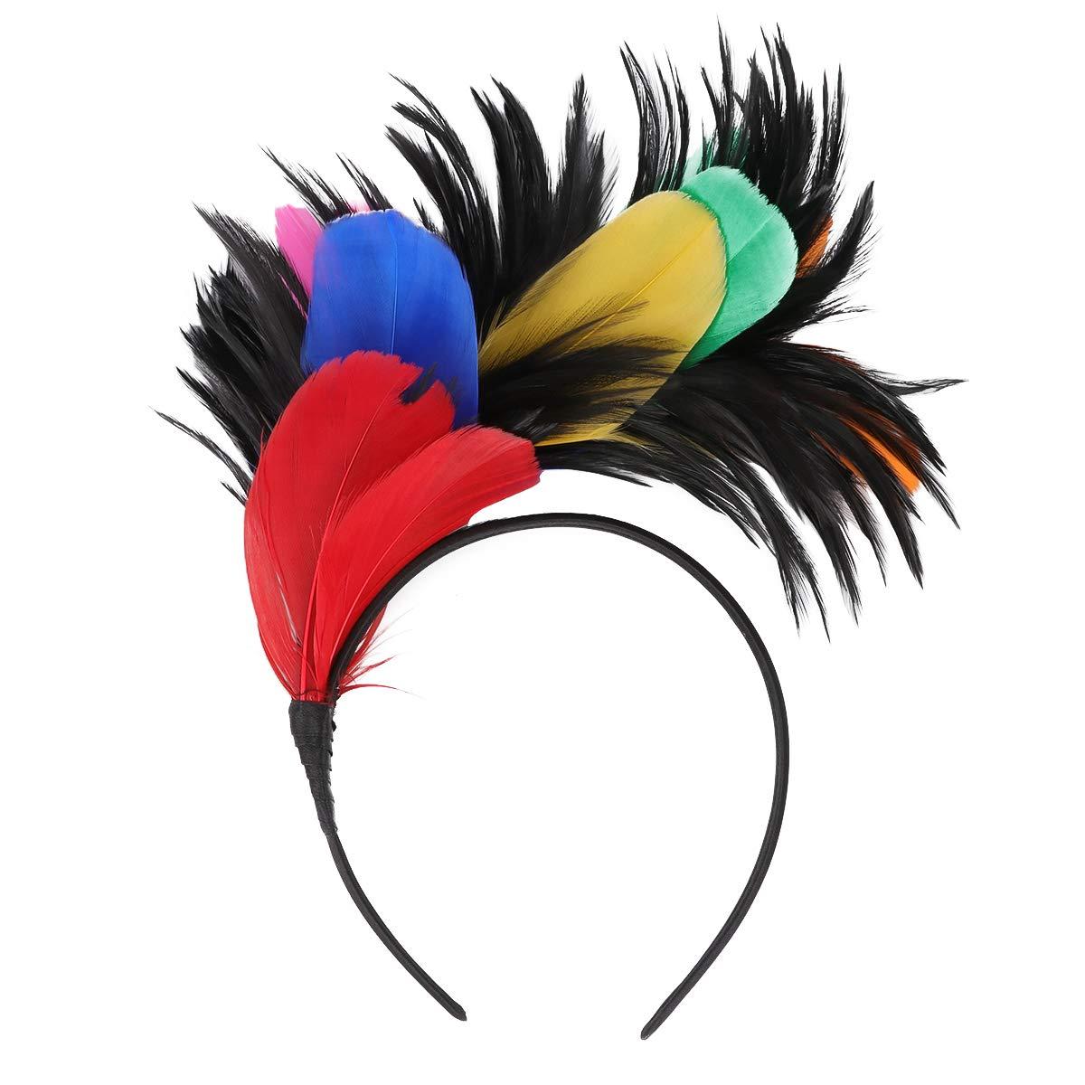 Uonlytech Fascinator Hair Hoop Feathers Headband Performance Hairband Masquerade Headwear