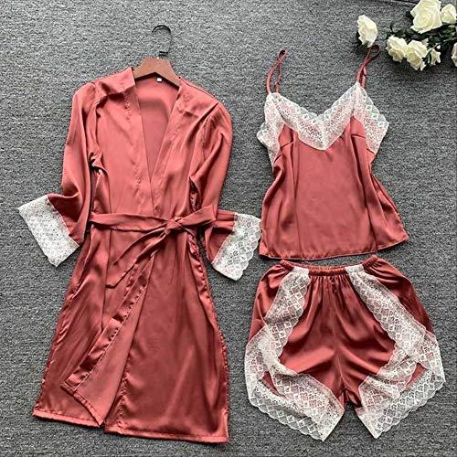 XFLOWR Zomer Vrouwen Pyjama Set Comfort IJs-Zijde Effen Kleur Kant Camisole+korte broek Zachte Satijn Slaapmode Full Sleeve Robe