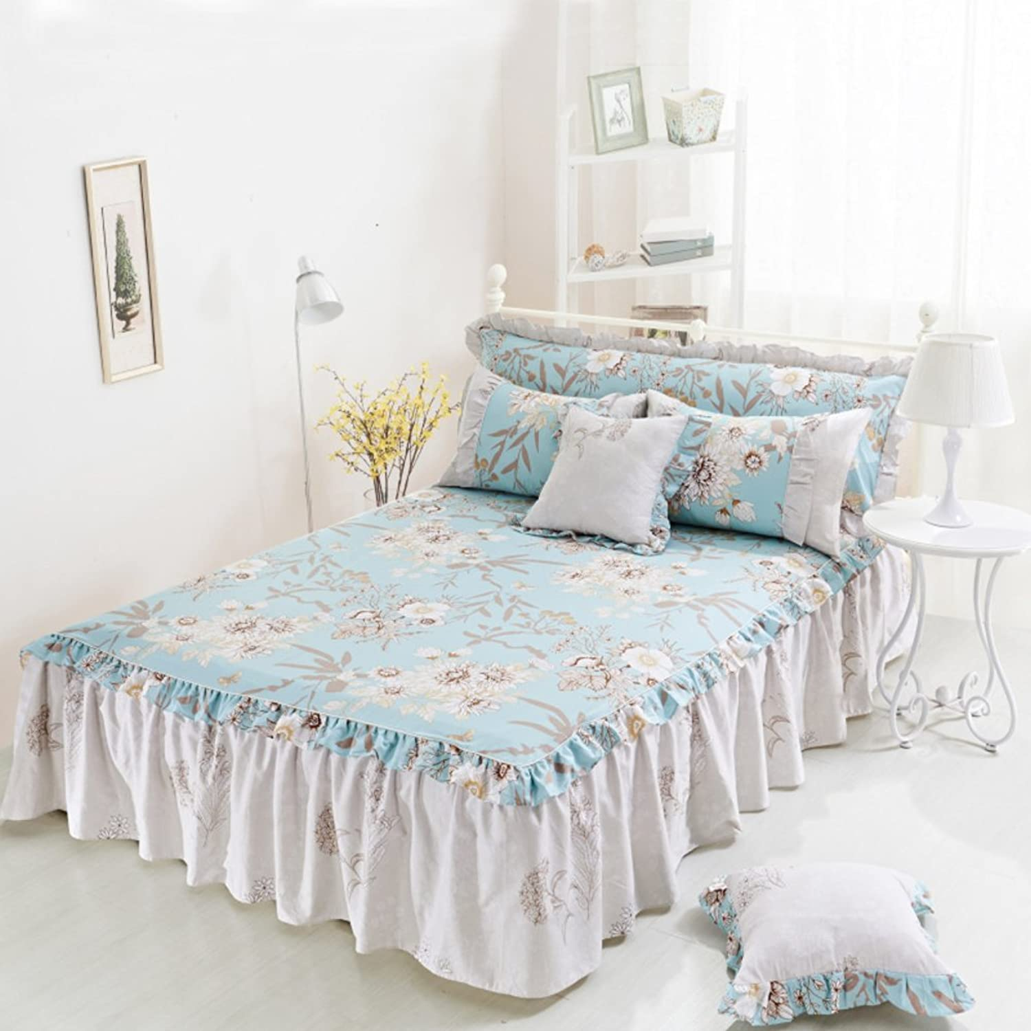 Cotton Non-Slip Bed Skirt, Single Piece Cotton Bed Cover Korean Lace Dust Bed Cover Bed Sheet-2 120x200cm(47x79inch)