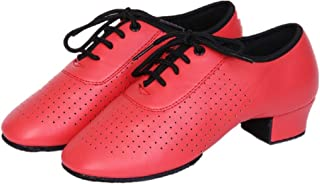 NLeahershoe Girl's Leather Lace-up Dancing Latin Shoes Breathable Dance Shoes, Red