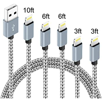 5Pack(3ft 3ft 6ft 6ft 10ft) iPhone Lightning Cable Apple Certified Braided Nylon Fast Charger Cable Compatible iPhone Max XS XR 8 Plus 7 Plus 6s 5s 5c Air iPad Mini iPod (Gray White)