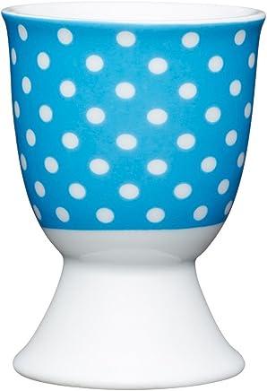 Preisvergleich für Kitchen Craft Eierbecher Blaue Tupfer aus Porzellan, 12 x 17 x 22 cm