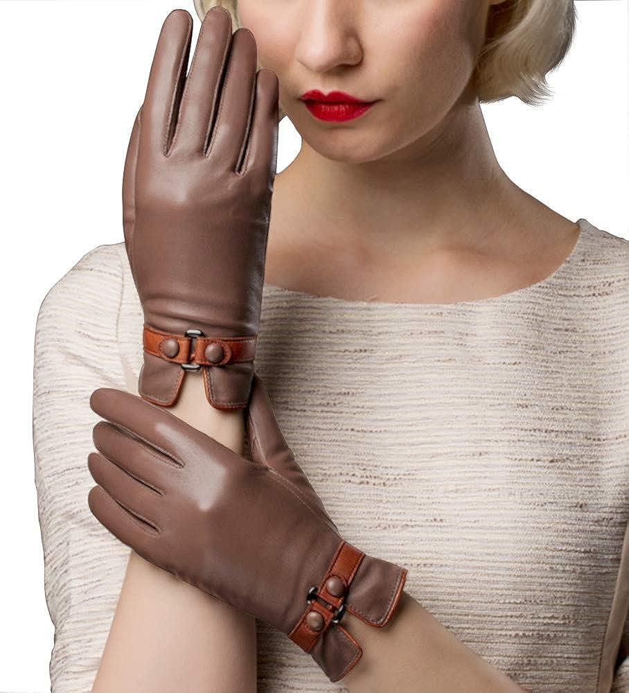 EL LEGANT Genuine Leather gloves women Touchscreen Winter sheepskin gloves warm Velvet Lined Driving gloves