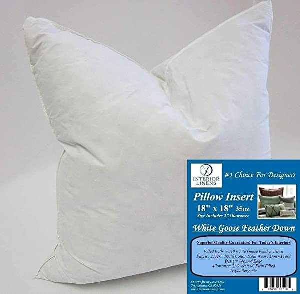 18 X 18 35oz Pillow Insert 10 90 White Goose Feather Down 2 Oversized Firm Filled Actual Size 20 X20