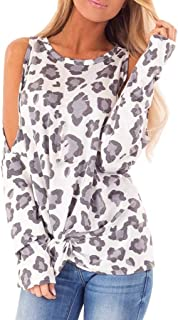 LONGDAY Leopard Print Long Sleeve Crew Ne Fit Casual Sweatshirtr Shirts Loose Tunic Blouse