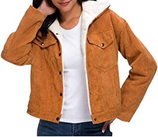 ReooLy Women's Thick Winter Warm Coats,Fashion Velvet Jackets Corduroy Lining Outwear