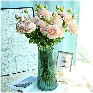 PAKUES-QO Jardin À La Maison Bouquet De Fleurs De Roses Artificielles 10 Têtes De Fleurs en Soie Rose pour La Décoration D...