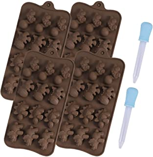 4 Pack Dinosaur Shaped Silicone Chocolate Mold with 2 Dropper for Make Pudding Ice Cube Chocolate