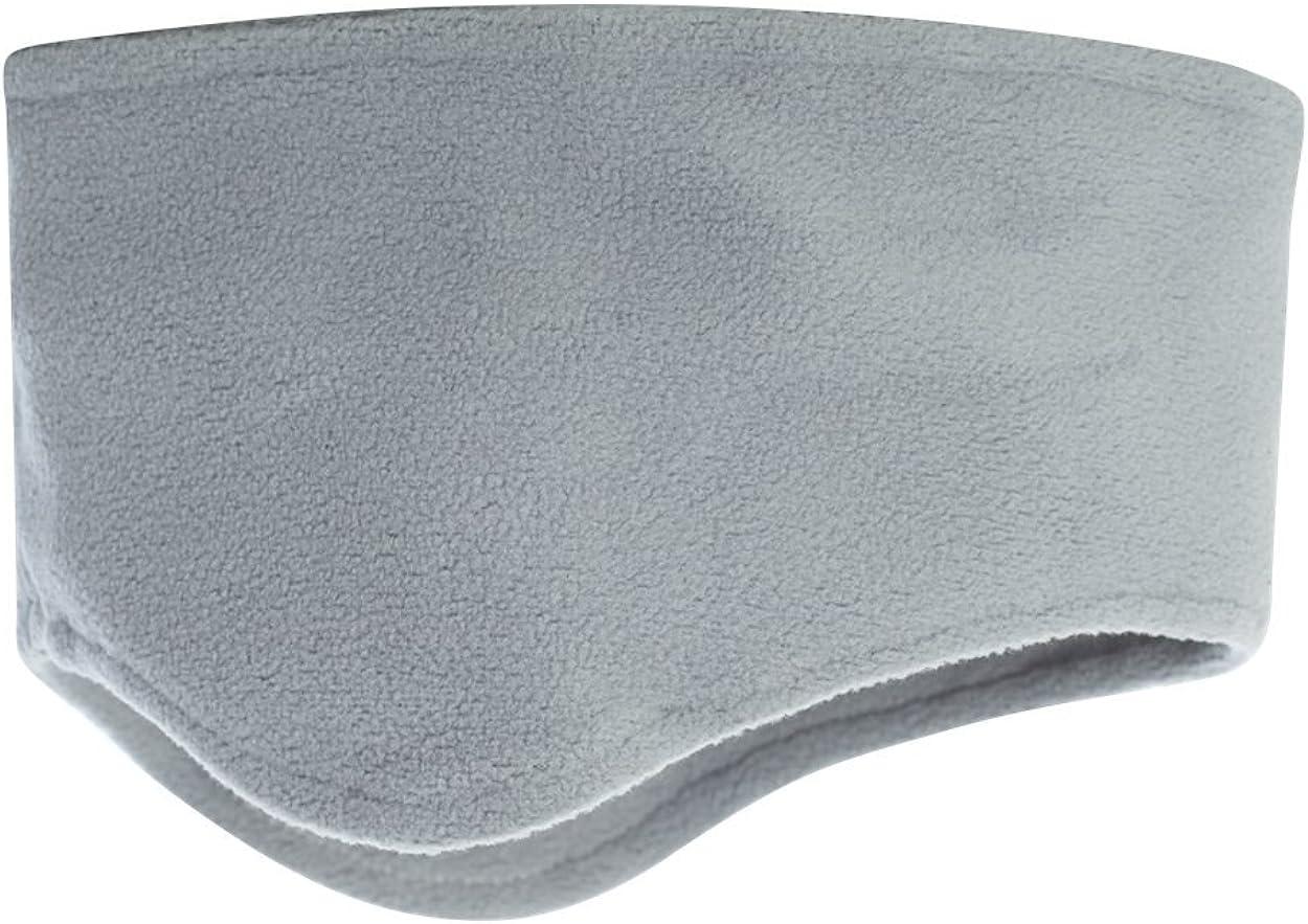 Snapskull Unisex Polar Fleece Headband with Ear Warmers (Light Grey)