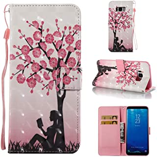 Case for Galaxy S8 Plus,Pu Leather Anti Sliding with Inner Soft Bumper Card Holder Slim Flip Folio Kickstand Case with Magnetic Closure Wrist Strap. Compatible with Samsung Galaxy S8 Plus -Tree