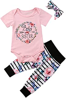 Newborn Infant Girl Clothes Baby Sister/Little Sister Outfit,Romper Bodysuit Floral Pants Set+Headband