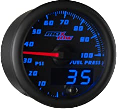 MaxTow Double Vision 100 PSI Fuel Pressure Gauge Kit - Includes Electronic Sensor - Black Gauge Face - Blue LED Illuminated Dial - Analog & Digital Readouts - for Trucks - 2-1/16