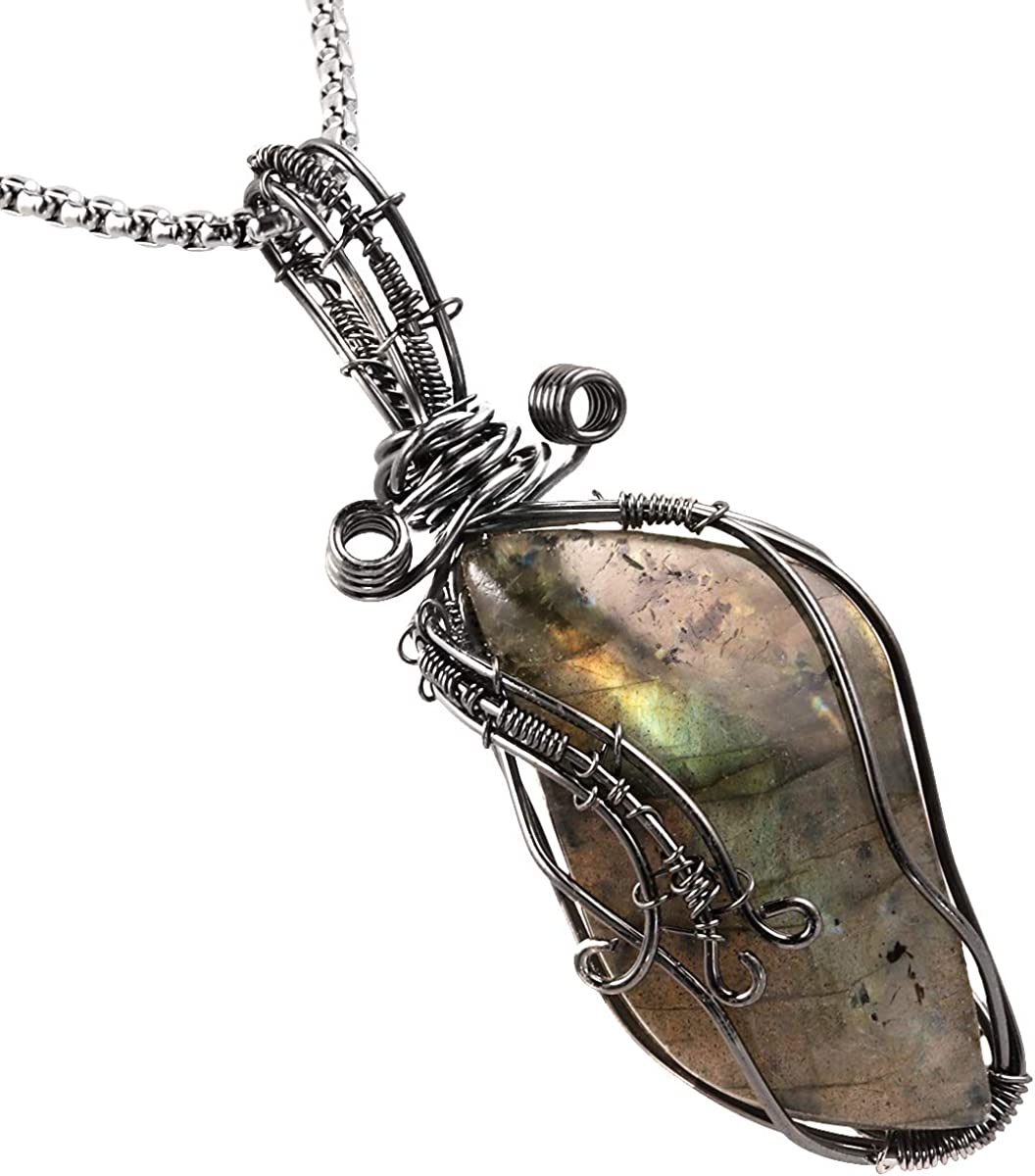 rainbow Labradorite pendant wire wrapped in silver big jewelry wire wrap boho crystals gifts for her chakras metaphysical handmade