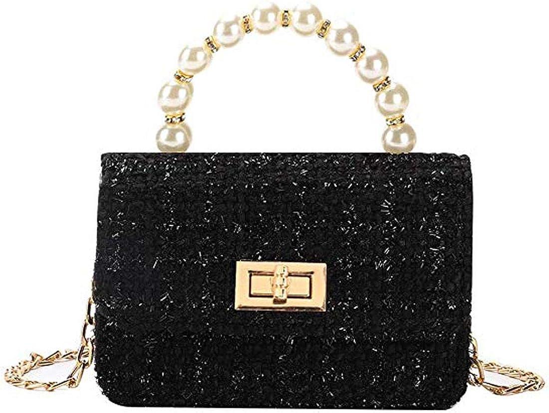 Globalwells Chain Handbags pearl handle For Women Shoulder Bag Woolen Messenger Bag Clutch Evening purses