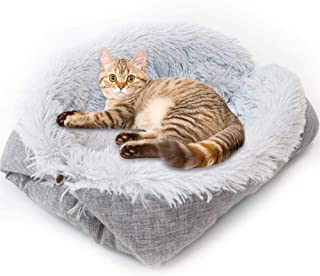 Hamkaw Self-Warming Dog Bed Foldable Convertible Self Heating Plush Cat Bed Nest Machine Washable & Removable Thermal Pet Cushion Pad Mat Blanket for Travel Home Indoor Outdoor - Improved Sleep