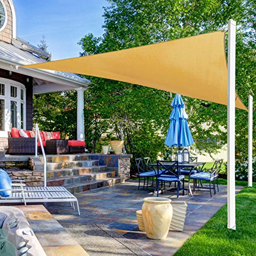 Ohuhu Vela de Sombra, Vela de Sombra Triángulo 3,6 x 3,6 x 3,6 m con Kit instalación,Protección Rayos UV, Toldo Resistente e Lmpermeable, para Patio, Exteriores, Jardín