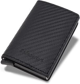 Shinewave RFID Blocking Card Holder/RFID Wallets for Men, Carbon Fiber PU Leather, Magnetic Closure Design, Slim, Minimalist Wallet, Lightweight Aluminum/Metal Front Pocket Wallet Credit Card Holder for Front Pocket — Black