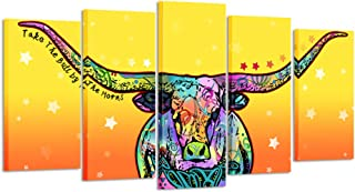 Kreative Arts Large 5 Pieces Canvas Prints Animal Wall Art for Living Room Longhorn Cattle Picture Prints Painting Modern Wall Decor Stretched and Framed Artwork Ready to Hang (Large Size 60x32inch)