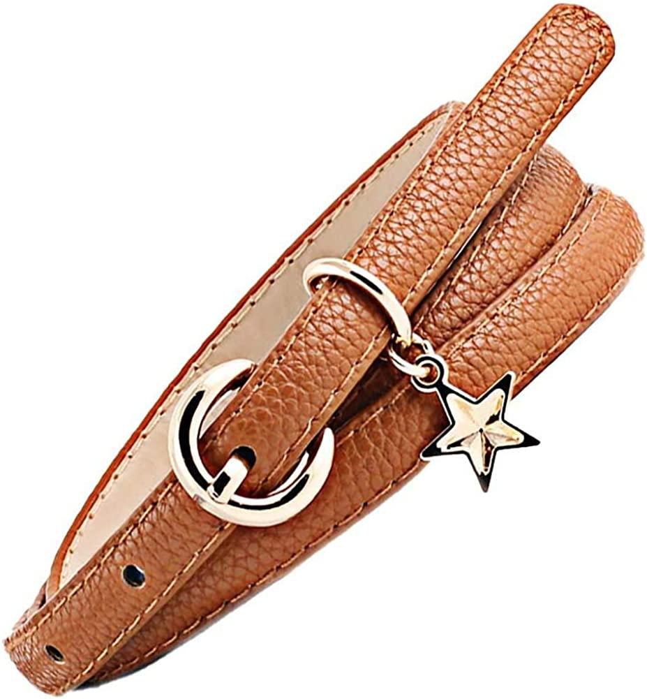 Leono Women's PU Leather Belt Skinny Ladies Belt Buckle Adjustable Waist Thin Belt for Dress Jean Pant