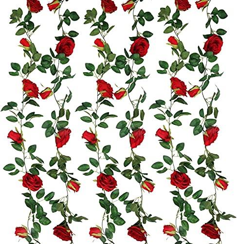SHACOS 3 Pezzi 200CM Fiori Artificiali Ghirlanda Rosso Rose Artificiali Vite Finta Fiori con Foglie di Edera Verde per Casa, Matrimoni, Giardini, Feste di Compleanno e Decorazioni Varie