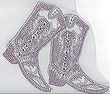 Cowboy Boot Rhinestone Hotfix Heat Transfer Pink and Clear Cowgirl