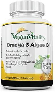 Vegan Omega-3 vetzuren van algenolie van Vegan Vitality. DHA 400 mg per capsule. Voedingssupplementen geschikt voor vegani...