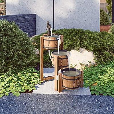 Festival Depot 3-Tier Outdoor Freestanding Water Fountain with Three Wooden Barrels Metal Faucet Rustic Waterfall for Patio Garden Deck Balcony
