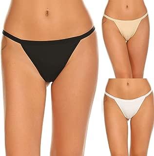 Ekouaer Sexy Panties Underwear Seamless Underpants Bikini Bottom 3 Packs, Black/White/Nude, Large