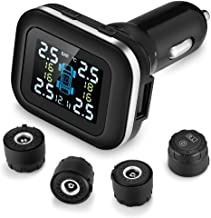 ZEEPIN TPMS Wireless Tire Pressure Monitoring System with 4 DIY Sensors, Real-time Displays 4 Tires' Pressure and Temperature TPMS (External TPMS4)
