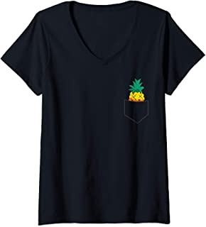 Sponsored Ad - Womens Cute Pineapple In A Pocket Summer Pineapple V-Neck T-Shirt