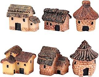 ZJW 6 pcs Miniature Fairy Garden Stone Houses Dollhouse DIY Decor Ornaments Accessories for Outdoor, Patio, Micro Landscap...