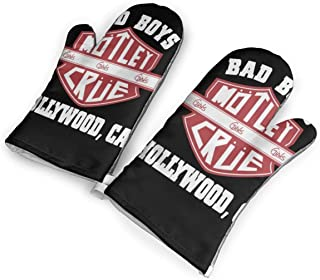 not Bad Bays Motley Crue Hollywood Ca Oven Mitts with Polyester Fabric Printed Pattern,1 Pair of Heat Resistant Oven Gloves for Cooking,Baking,Grilling,Barbecue Potholders